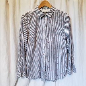 Old Navy Striped Cotton Shirt with Hearts sz L